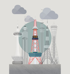 Japan sapporo tv tower vector