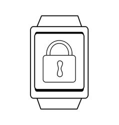 Square watch and lock icon graphic vector