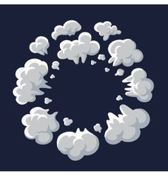Smoke dust explosion cartoon frame vector