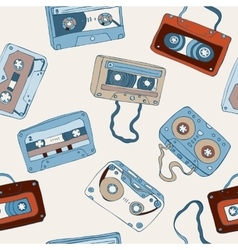Audio cassette seamless pattern vector image vector image