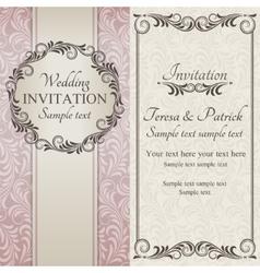 Baroque wedding invitation brown pink and beige vector