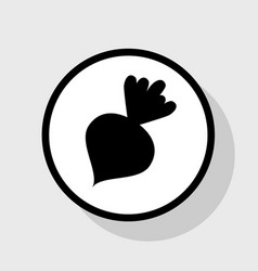 Beet simple sign flat black icon in white vector