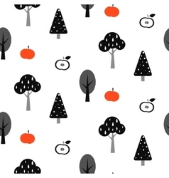 Black tree forest seamless pattern with apples vector