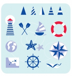Blue nautical and sailor icons vector