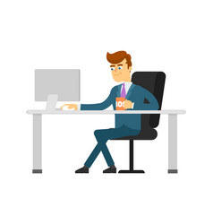 Businessman with coffee cup working on computer vector