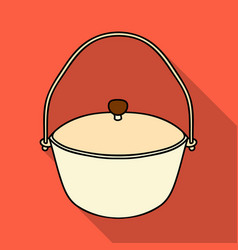 camping pot icon in flat style isolated on white vector image