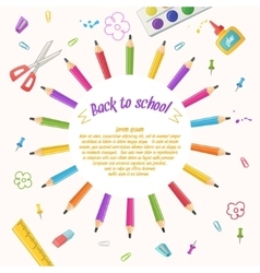 Circle of pencils on a white background vector