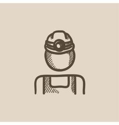 Coal miner sketch icon vector