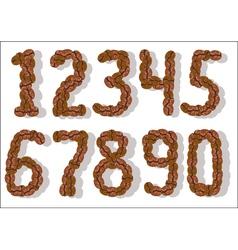 Coffee bean numbers vector