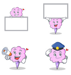 Cotton candy character set with board megaphone vector