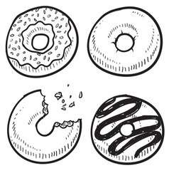 doodle food donuts vector image vector image