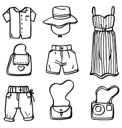Doodle set of women clothes and accessories vector