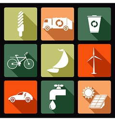 Ecological flat icons vector