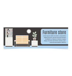 furniture horizontal banner with sofa vector image vector image