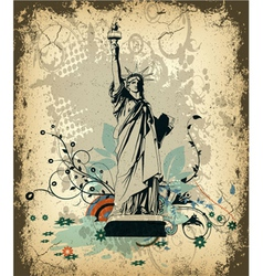 grunge background with statue of liberty vector image vector image