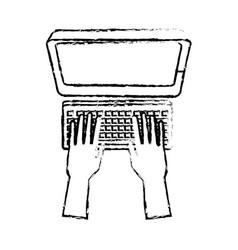 Hand programming work computer keyboard vector