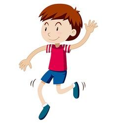 Happy boy dancing alone vector image vector image