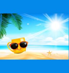 Happy smile yellow mug cartoon on the beach with vector