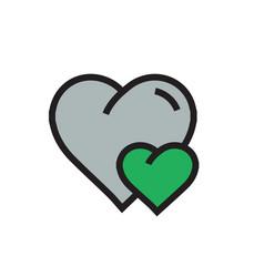 Heart mini icon cartoon green color vector