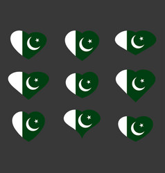 Hearts with the pakistan flag i love vector