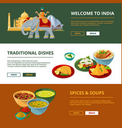 indian cuisine and different traditional elements vector image vector image