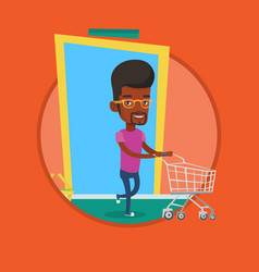 male customer running into the shop with trolley vector image