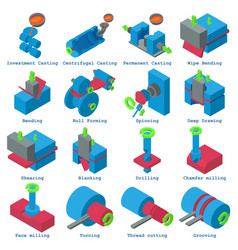 Metalwork icons set isometric style vector