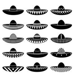 Mexico sombrero hat variations icons set eps10 vector image