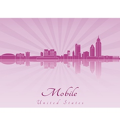 Mobile skyline in purple radiant orchid vector