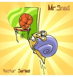 Mr snail with basketball vector