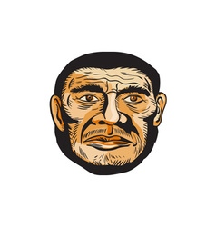 Neanderthal man head etching vector
