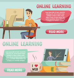 Online education orthogonal banners vector