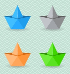 Paper origami boats vector image vector image