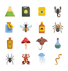 Poison danger toxic icons set flat style vector