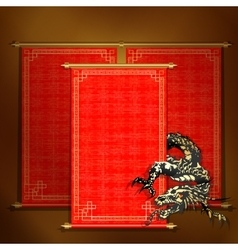 Red scroll with asian dragon vector