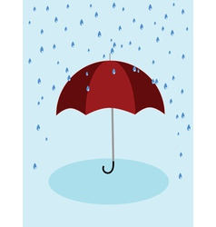 Red umbrella and rain vector image