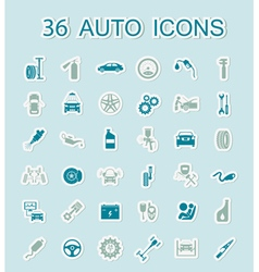 Set of car service icons Stickers style vector image