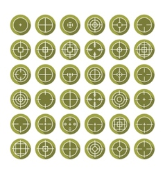 Set of different flat crosshair sign icons with vector image