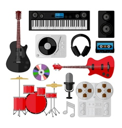 Set of music and sound objects isolated on white vector image vector image