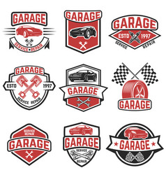 set of vintage car service labels design elements vector image