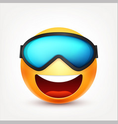 Smiley with glassesmasksmiling emoticon yellow vector