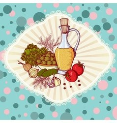 Still life with vegetables and oil vector image