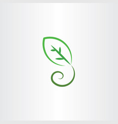Stylized green leaf icon vector