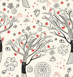 Texture with trees and birds vector image vector image