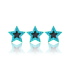 Three gold blue stars on white background vector