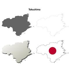 Tokushima blank outline map set vector
