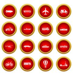transportation icon red circle set vector image