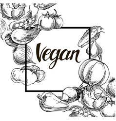 Vegan food concept hand drawn vector