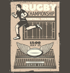 Vintage rugby competition poster vector