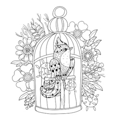 Zentangle stylized bird in cage hand drawn vector